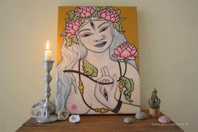 Witte Tara - het originele schilderij - op een huisaltaar