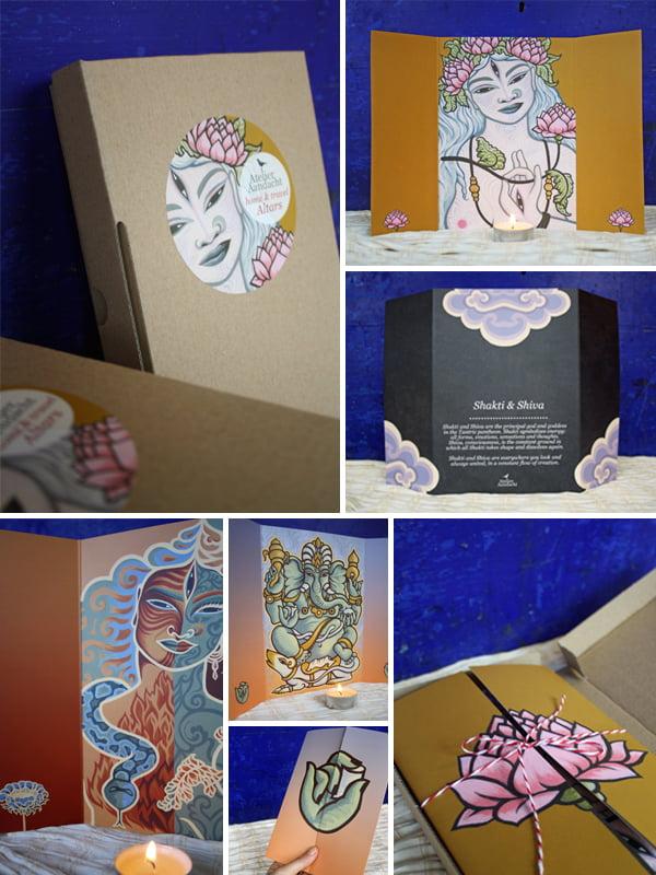 Home & Travel Altar set: 5 tantrische goden en godinnen van Atelier Aandacht