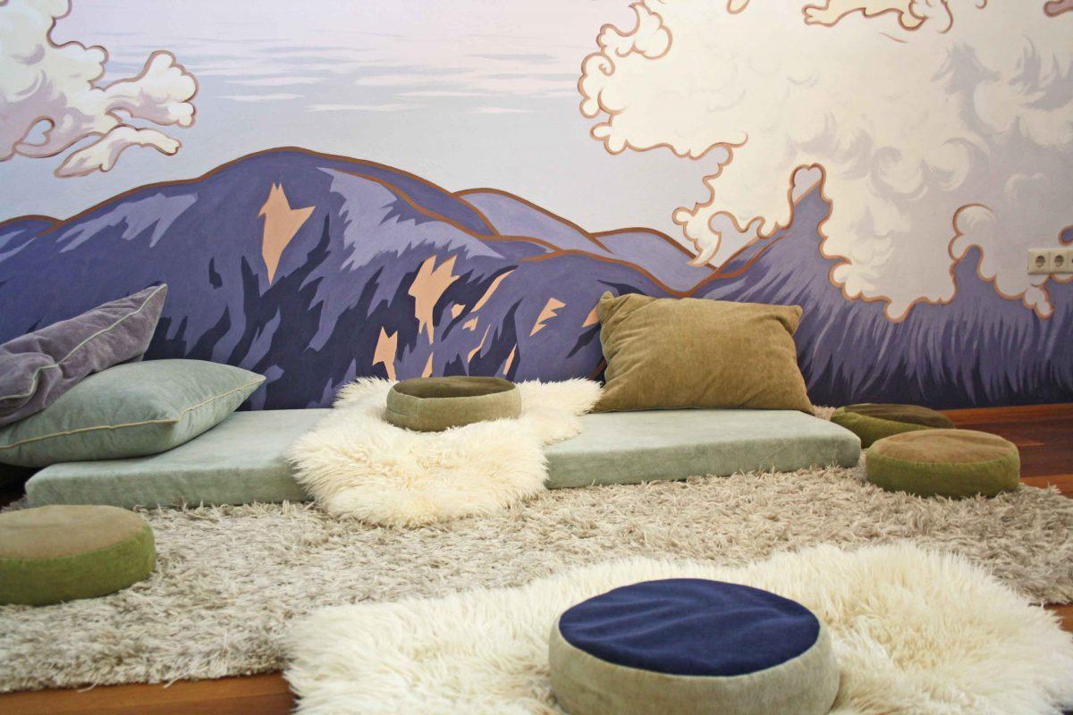 Muurschildering voor meditatieruimte