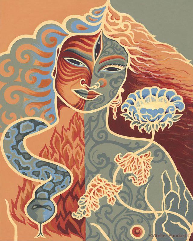 Ardhaneswara Vuur Aarde - een Tantrisch schilderij van Atelier Aandacht