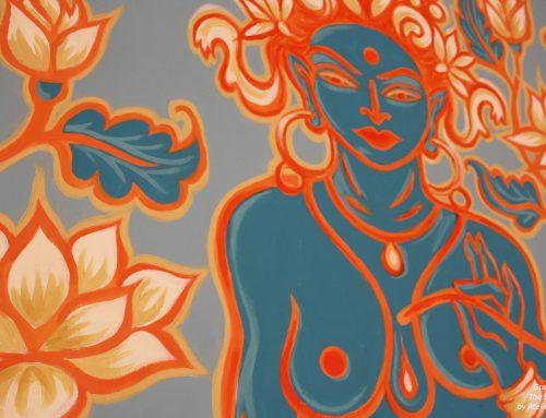Help je me om een Groene Tara schildering te maken op straat?