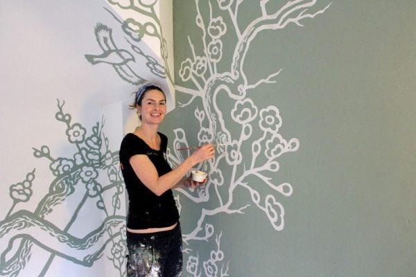 Work in progress - kersenbloesem muurschildering