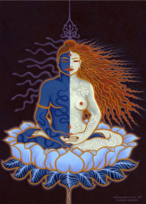 Ardhaneswara - Tantric painting by Atelier Aandacht